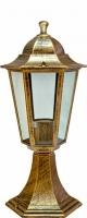 Светильник садово-парковый Feron 6104 шестигранный на постамент 60W E27 230V, черное золото