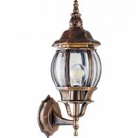 Светильник садово-парковый Feron 8101 восьмигранный на стену вверх 100W E27 230V, черное золото