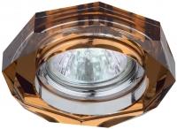 DK6 CH/T Светильник ЭРА декор стекло объемный многогранник MR16,12V/220V, 50W, GU5,3 хром/янтарь