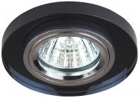 DK7 CH/BK Светильник ЭРА декор стекло круглое MR16,12V/220V, 50W, хром/черный