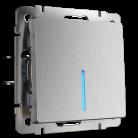 Выключатель одноклавишный проходной с подсветкой WL09-SW-1G-2W-LED Werkel серебрянная рифленая