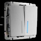 Выключатель двухклавишный проходной с подсветкой WL09-SW-2G-2W-LED Werkel серебрянная рифленая