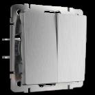 Выключатель двухклавишный проходной WL09-SW-2G-2W Werkel серебрянная рифленая