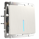Выключатель Одноклавишный проходной с подсветкой WL13-SW-1G-2W-LED Werkel перламутровый рифленный