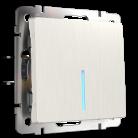 Выключатель одноклавишный с подсветкой WL13-SW-1G-LED Werkel перламутровый рифленный