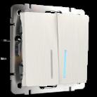 Выключатель Двухклавишный проходной с подсветкой WL13-SW-2G-2W-LED Werkel перламутровый рифленный
